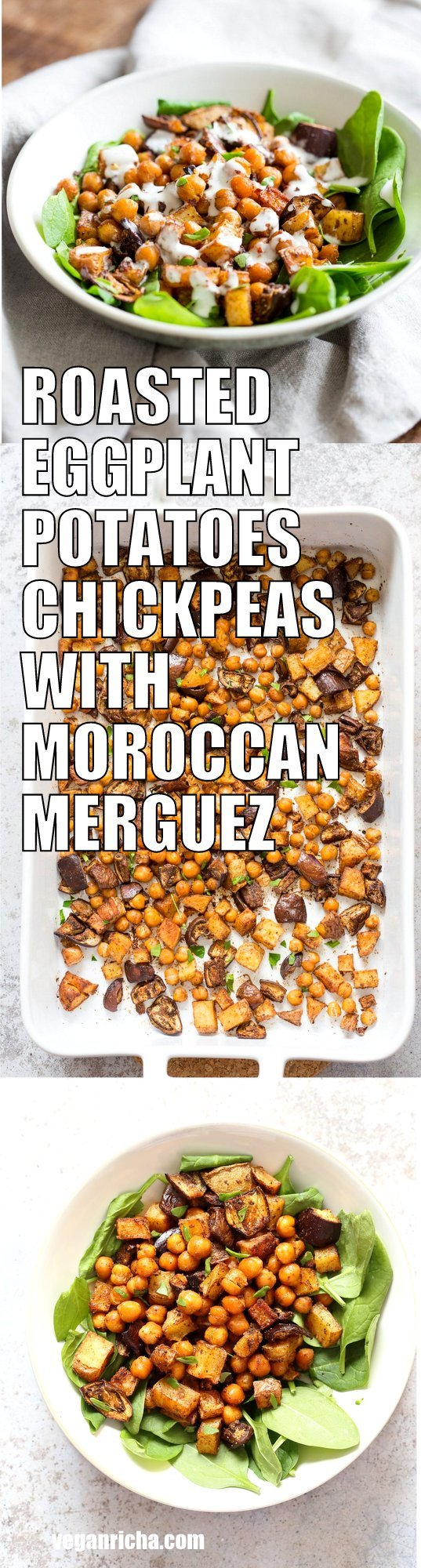 Roasted Eggplant Potatoes Chickpeas with Moroccan Merguez seasoning. 1 Pan Sheet-pan Dinner! Veggies tossed in cumin, pepper, cinnamon, paprika blend, roasted then served with tahini dressing. #Vegan #Glutenfree #soyfree #Recipe #veganricha | VeganRicha.com