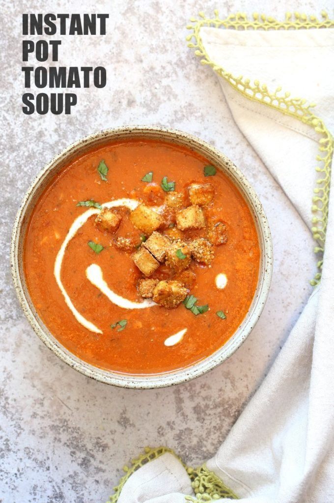 Instant Pot Tomato Soup with Cornmeal Crusted Tofu Croutons. Easy 1 Pot Tomato Soup with Crispy Croutons. Use other croutons and spices of choice. #Vegan #Glutenfree #Recipe. can be #nutfree. | VeganRicha.com