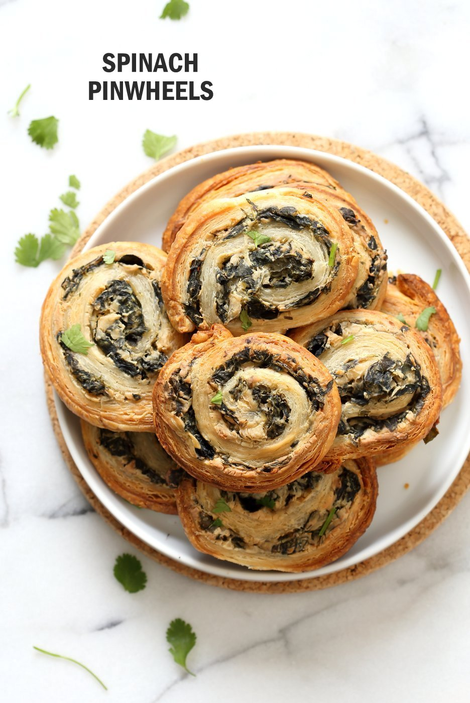 Vegan Spinach Pinwheels with Cream Cheese