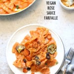 Vegan Rose Sauce Farfalle Pasta with Roasted Veggies. Easy Vegan Rose Sauce, serve with farfalle or other pasta, roasted veggies and vegan parm. #Vegan #veganricha #Soyfree #Recipe. Can be #glutenfree | VeganRicha.com