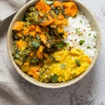 Instant Pot Saag Aloo with Chard and Sweet Potatoes. Sweet Potato Chard/Spinach curry. Serve this easy side with dals or curries or add to a bowl. #Vegan #soyfree #Glutenfree #Recipe easily #nutfree| VeganRicha.com