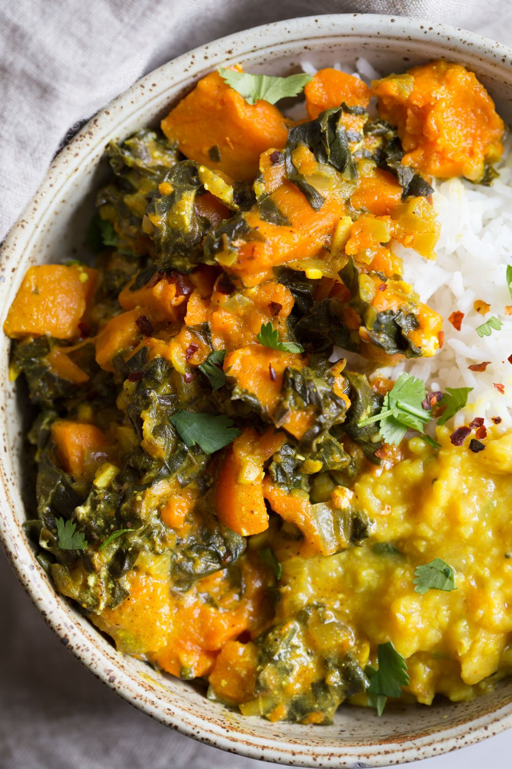 Instant Pot Saag Aloo with Chard and Sweet Potatoes. Sweet Potato Chard/Spinach curry. Serve this easy side with dals or curries or add to a bowl. #Vegan #soyfree #Glutenfree #Recipe easily #nutfree #veganricha2| VeganRicha.com