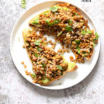 Ginger Coriander Sprouted Lentil Avocado Toast. Sprout Lentils of Mung Beans, Lightly saute with ginger, onion and tomato and serve over Mashed Avocado Toast. #Vegan #veganricha #Nutfree #Soyfree #Recipe | VeganRicha.com