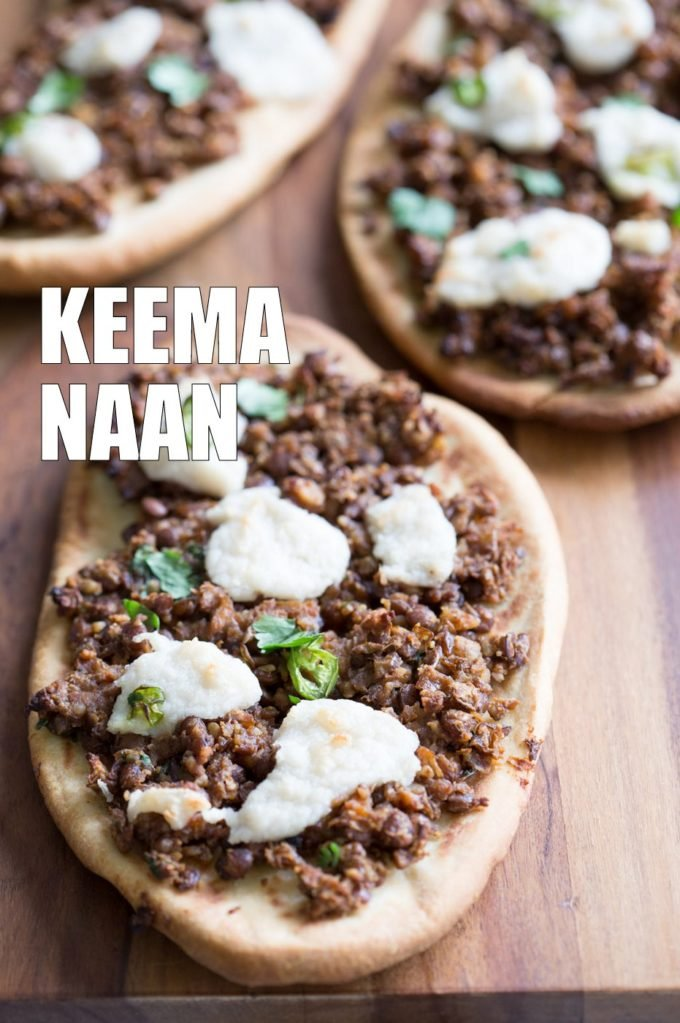 Vegan Keema Naan with Keema Lentils, onion, carrots and walnuts. These lentils with the herbs and spices make a vegan version of keema. Serve over Naan bread or Pizza or fill tacos or wraps. #Vegan #Recipe #veganricha, Can be gluten-free and soy free. | VeganRicha,com