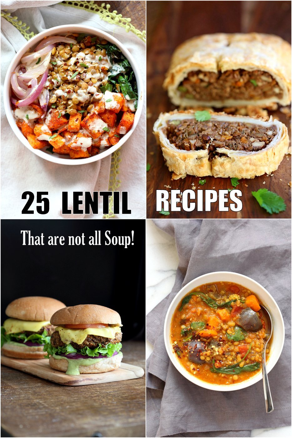 25 Easy Lentil Recipes that are not all Lentil Soup. Brown, green, Red Lentils in Bowls, tacos, Soups, enchiladas, sloppy sandwiches, lentil fritters, burger patties, casseroles and more. Vegan #Glutenfree #Soyfree #nutfree options #vegan #veganricha