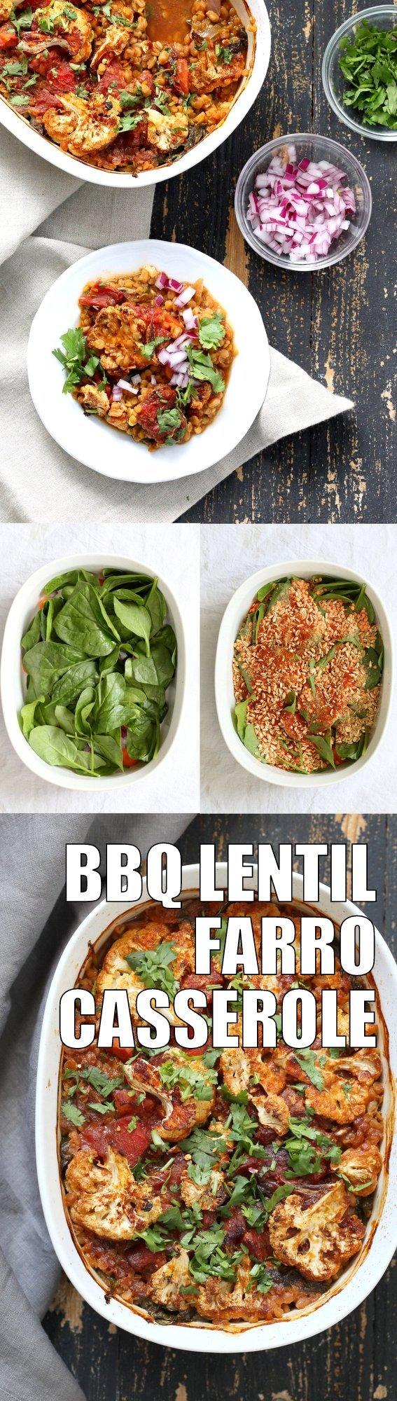 BBQ Lentil Farro Cauliflower Casserole. BBQ Casserole with Red Lentils, Farro, Veggies, Spinach, Cauliflower all layered and baked. Amazing Flavors! #Vegan #Glutenfree #Nutfree #Recipe. Can be soyfree #veganricha | VeganRicha.com