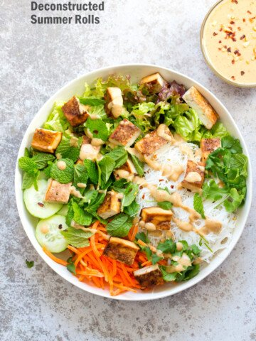 Crunchy Veggie Vegan Summer Rolls Deconstructed into a Bowl. Served with Peanut Butter Dipping Sauce. Fresh Spring Rolls/ Rice paper rolls in a bowl. Make a bowl, wrap or fill up rice paper wrappers. #Vegan #Glutenfree #Recipe #veganricha Use Sunbutter to make #nutfree   VeganRicha.com
