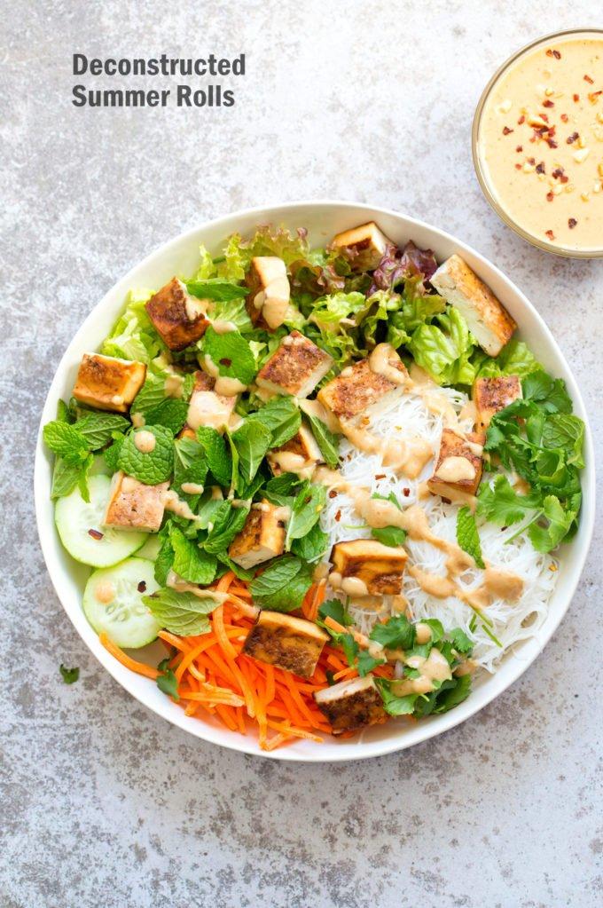 Crunchy Veggie Vegan Summer Rolls Deconstructed into a Bowl. Served with Peanut Butter Dipping Sauce. Fresh Spring Rolls/ Rice paper rolls in a bowl. Make a bowl, wrap or fill up rice paper wrappers. #Vegan #Glutenfree #Recipe #veganricha Use Sunbutter to make #nutfree | VeganRicha.com