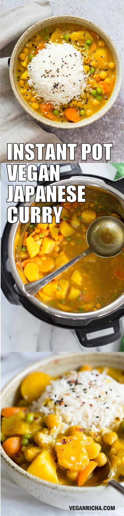 Vegan Japanese Curry made in Instant Pot Pressure cooker. Flavorful, Comforting, Vegetable Rich Curry for Weekday Dinner. Saucepan Option. #Vegan, #veganricha #glutenfree, #nutfree #Recipe. Can be #soyfree #oilfree | VeganRicha.com