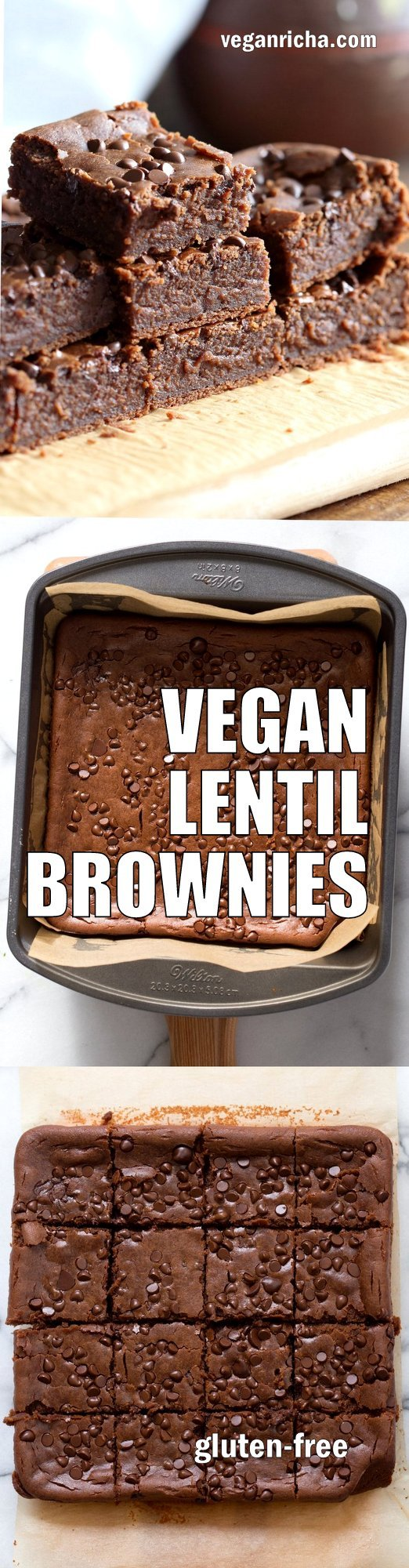 Fudgy Lentil Brownies. High Protein Brownies that dont taste beany! Just Process and bake #Vegan #Glutenfree Recipe. Can be #Nutfree #veganricha | VeganRicha.com