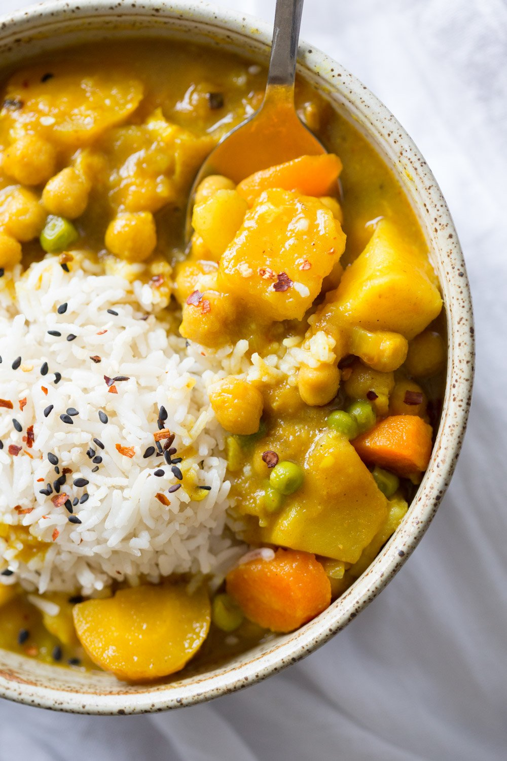Vegan Japanese Curry made in Instant Pot Pressure cooker. Flavorful, Comforting, Vegetable Rich Curry for Weekday Dinner. Saucepan Option. #Vegan, #veganricha #glutenfree, #nutfree #Recipe. Can be #soyfree | VeganRicha.com