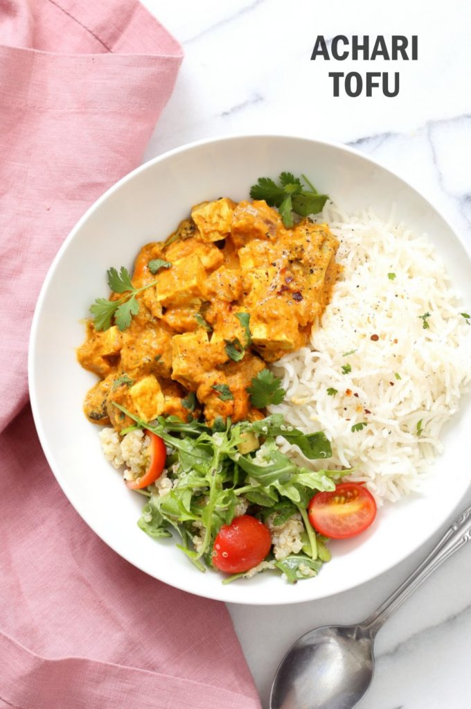 "Tofu Achari ""Paneer"" - Tofu & Veggies in Achari Sauce made with Indian Pickling spices. Add chickpeas or more vegetables to make soy-free. #Vegan #Glutenfree #Recipe #Nutfree option #veganricha | VeganRicha.com"
