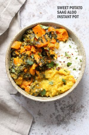 Instant Pot Saag Aloo with Chard and Sweet Potatoes. Sweet Potato Chard/Spinach curry. Serve this easy side with dals or curries or add to a bowl. #Vegan #veganricha #soyfree #Glutenfree #Recipe easily #nutfree | VeganRicha.com