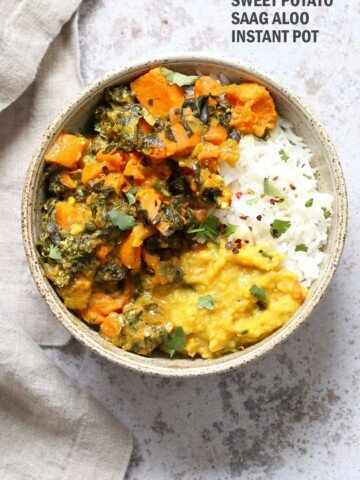 Instant Pot Saag Aloo with Chard and Sweet Potatoes. Sweet Potato Chard/Spinach curry. Serve this easy side with dals or curries or add to a bowl. #Vegan #veganricha #soyfree #Glutenfree #Recipe easily #nutfree   VeganRicha.com