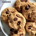 Vegan Paleo Grain free Chocolate Chip Cookies with Coconut flour and Almond Butter. These fudgy cookies are a perfect treat or snack. No refined oil and no refined sugar. #Vegan #Glutenfree #Grainfree #paleo #Recipe #veganricha | VeganRicha.com