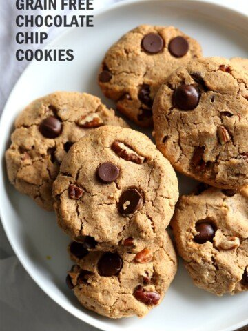 Vegan Paleo Grain free Chocolate Chip Cookies with Coconut flour and Almond Butter. These fudgy cookies are a perfect treat or snack. No refined oil and no refined sugar. #Vegan #Glutenfree #Grainfree #paleo #Recipe #veganricha   VeganRicha.com