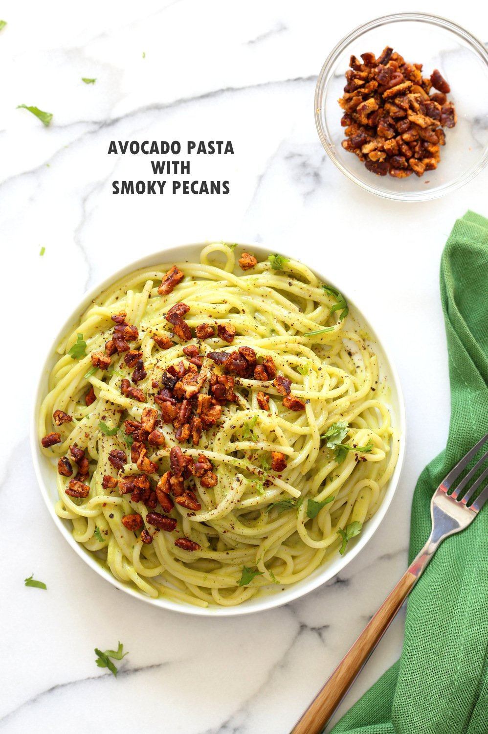 Avocado Pasta with Smoky Pecans