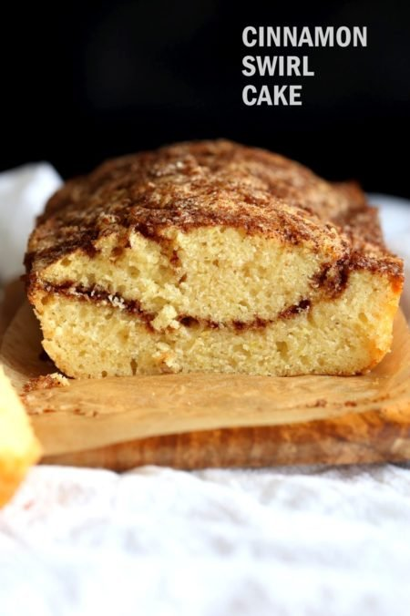 This Vegan Cinnamon Swirl Cake is super Easy and Quick. A simple yellow cake, swirled with cinnamon sugar makes for a delightful treat. Add some nuts into the swirl for variation #Vegan #Nutfree #Soyfree #Dessert #Recipe #veganricha | VeganRicha.com