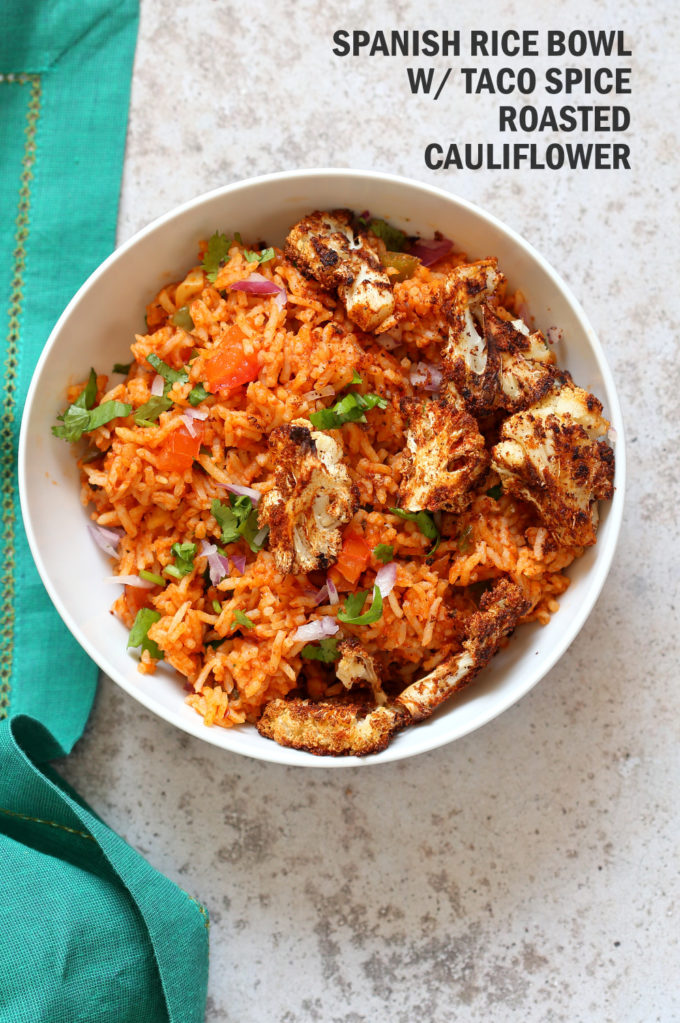 Easy Vegan Spanish Rice Bowl with Taco Roasted Cauliflower. Everyday Meal with everyday ingredients. #veganricha #Vegan #Glutenfree #Nutfree #Soyfree #Recipe   VeganRicha.com