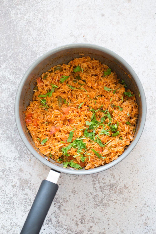 Easy Vegan Spanish Rice Bowl with Taco Roasted Cauliflower. Everyday Meal with everyday ingredients. #veganricha #Vegan #Glutenfree #Nutfree #Soyfree #Recipe | VeganRicha.com