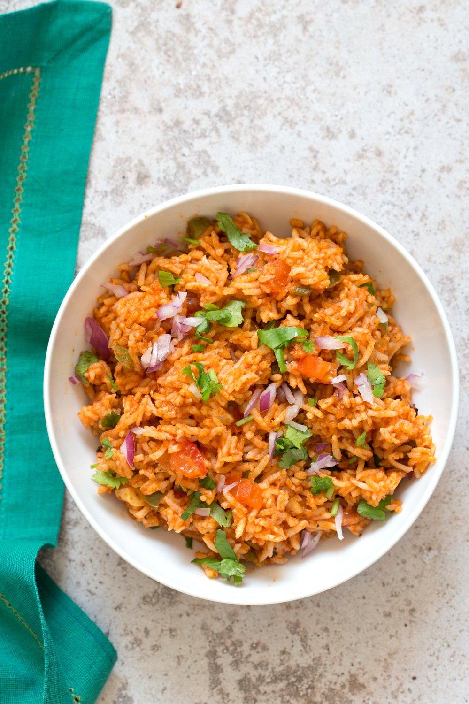 Easy Vegan Spanish Rice Bowl with Taco Spice Roasted Cauliflower. Everyday Meal with everyday ingredients. #veganricha #Vegan #Glutenfree #Nutfree #Soyfree #Recipe | VeganRicha.com