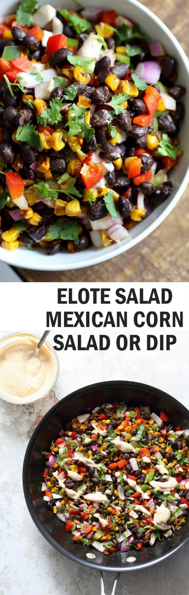 Mexican Street Corn Salad with Black Beans and Chipotle Mayo. Elote Bean Salad. Serve with Tortilla Chips. #Vegan #Glutenfree #Nutfree #soyfree #Recipe #veganricha | VeganRicha.com