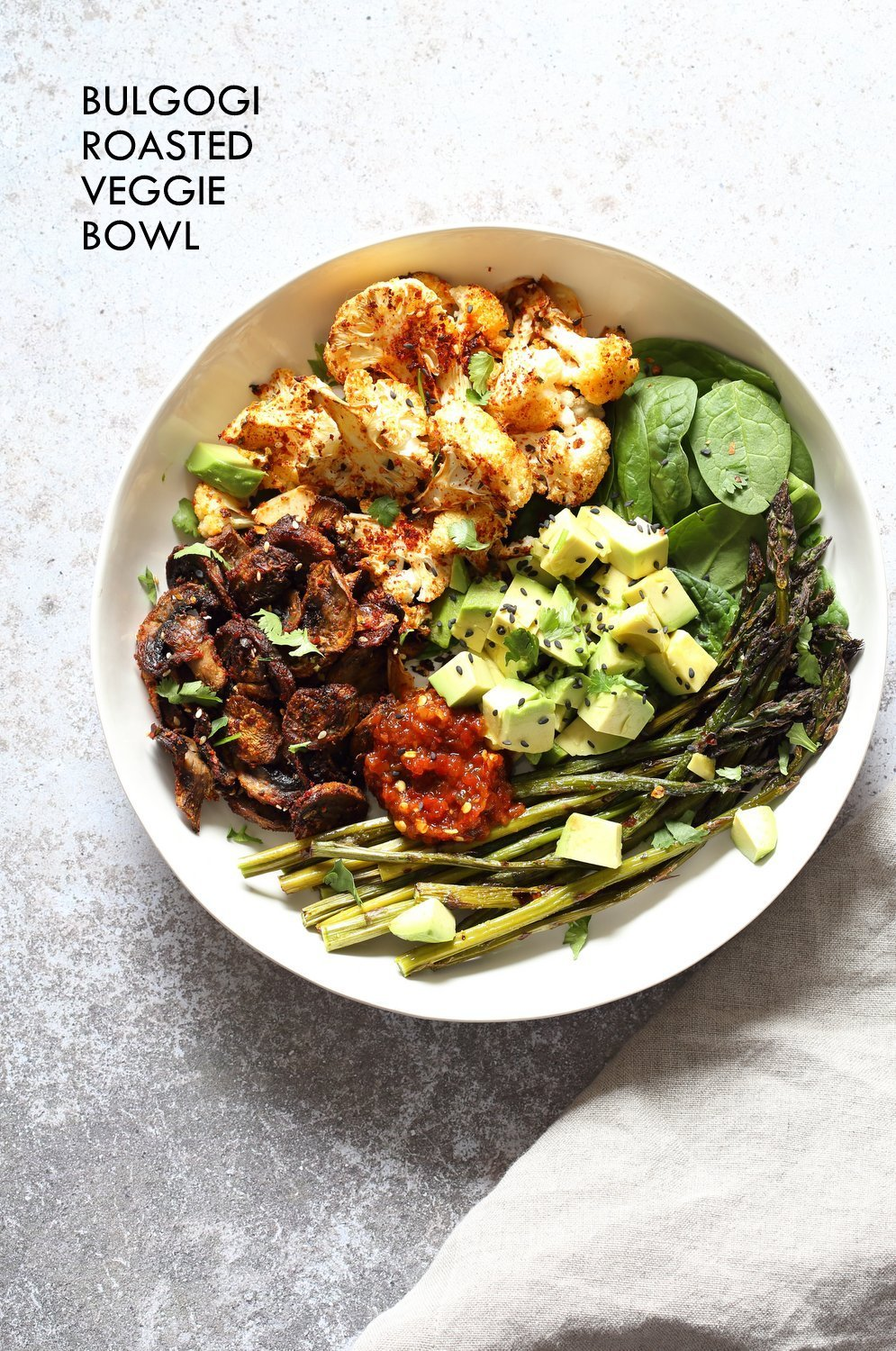 Bulgogi Roasted Spring Veggie Bowl. Spicy, sweet Korean Gochugaru blend roasted Cauliflower Mushroom Asparagus Bowl. #Vegan #Glutenfree #Nutfree #Recipe #VeganRicha | VeganRicha.com