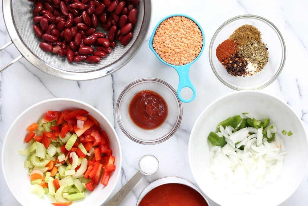 Ingredients for our Instant Pot Vegan Chili mise en place in Bowls