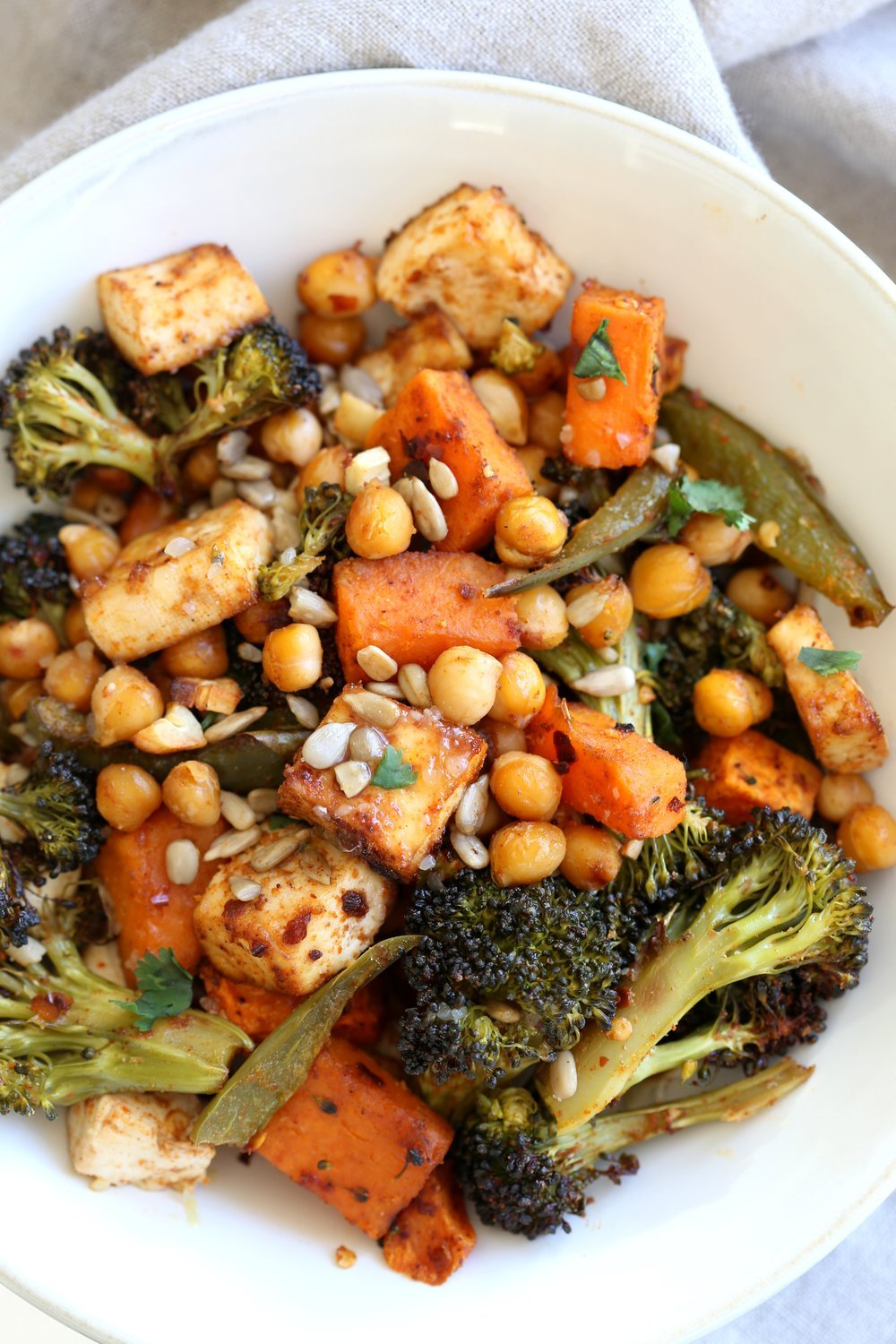 Sheet Pan Veggie Dinner with Roasted Veggies, Chickpeas, Tofu in a Bowl for our Sheet Pan Veggie Dinner