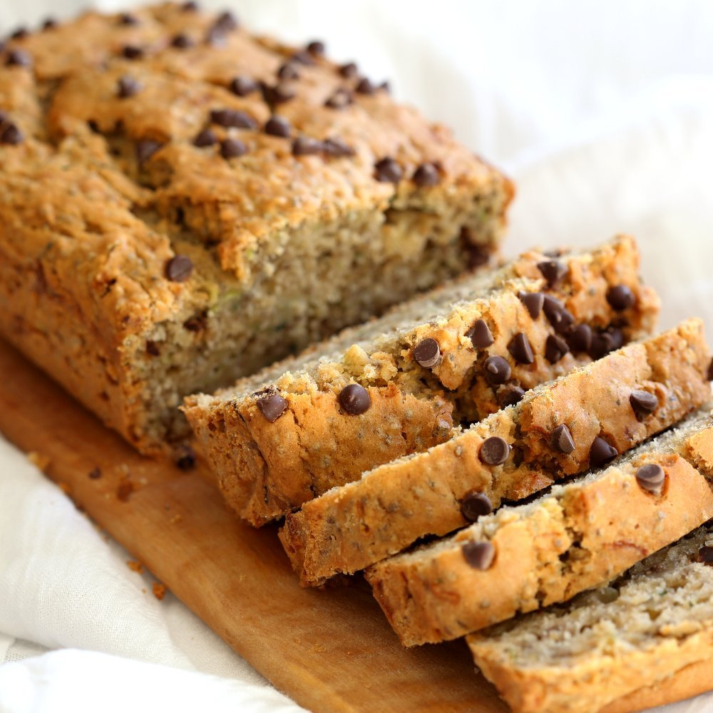 Easy Vegan Zucchini Bread. Hearty Zucchini Bread with Chia seeds and chocolate chips. Add some walnuts or other nuts for variation. #Vegan #Nutfree #Recipe #veganricha