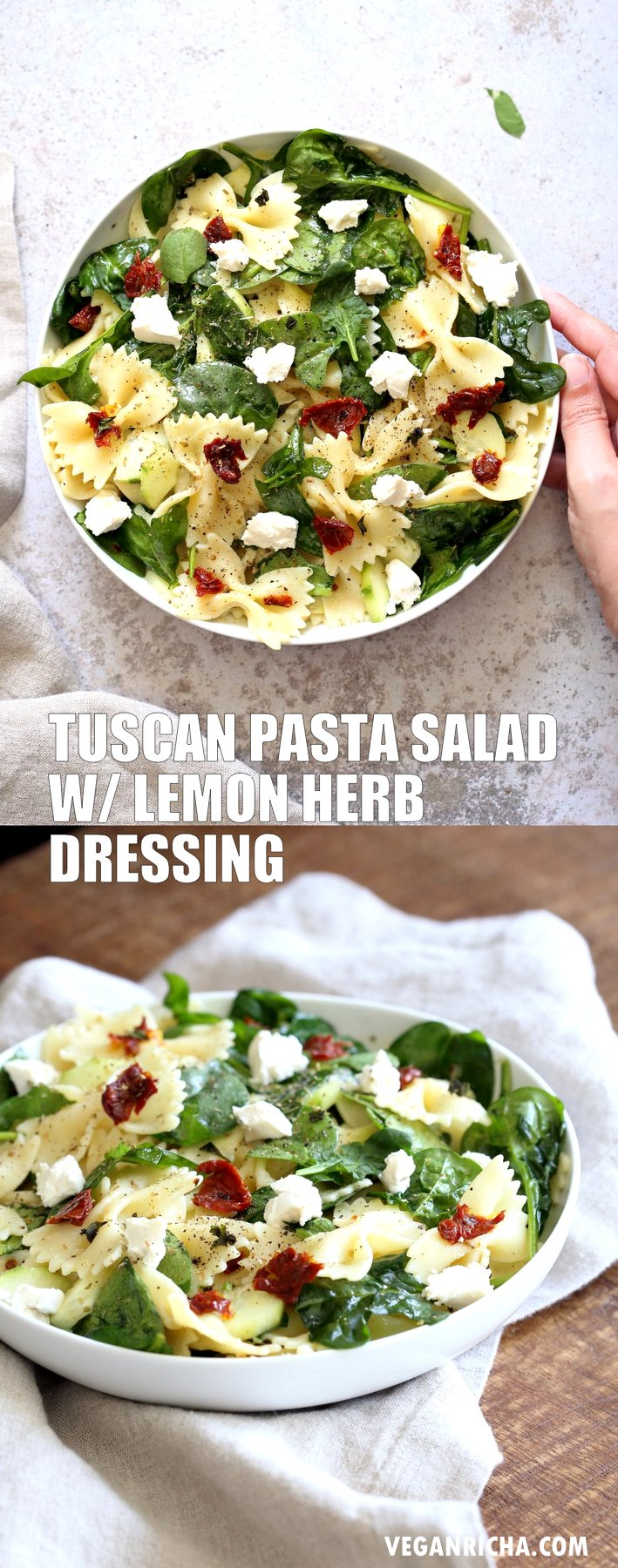 Tuscan Pasta Salad with Lemon Garlic Herb Vinaigrette. Farfalle Pasta Salad with sun dried tomato, cucumber, spinach, vegan feta and Tuscan/Mediterranean flavors. #Vegan #Soyfree #Recipe. Can be #nutfree and #glutenfree #veganricha