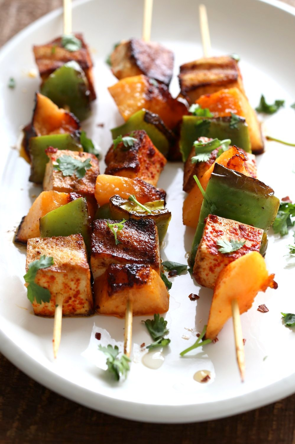 Gochugaru Baked Tofu, Melon, Pepper Veggie skewers with Chili Lime Sauce. Summer Vegetable kabobs.#Vegan #Glutenfree #Nutfree #Recipe. #veganricha