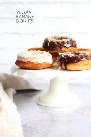 Vegan Banana Donuts. Banana Bread Doughnuts. Easy Soft Baked Banana Donut Recipe for breakfast for snacking. #Vegan #Soyfree #Recipe #veganricha