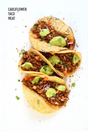 Cauliflower Taco Meat. Easy No Skillet Cauliflower Walnut Crumble. Use in tacos, wraps, burrito, nachos, salads! #Vegan #Glutenfree #soyfree #Recipe #Veganricha. Can be #nutfree | VeganRicha.com