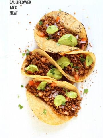 Cauliflower Taco Meat. Easy No Skillet Cauliflower Walnut Crumble. Use in tacos, wraps, burrito, nachos, salads! #Vegan #Glutenfree #soyfree #Recipe #Veganricha. Can be #nutfree   VeganRicha.com