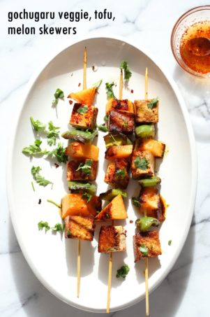 Gochugaru Baked Tofu, Melon, Veggie Skewers with Chili Lime Sauce