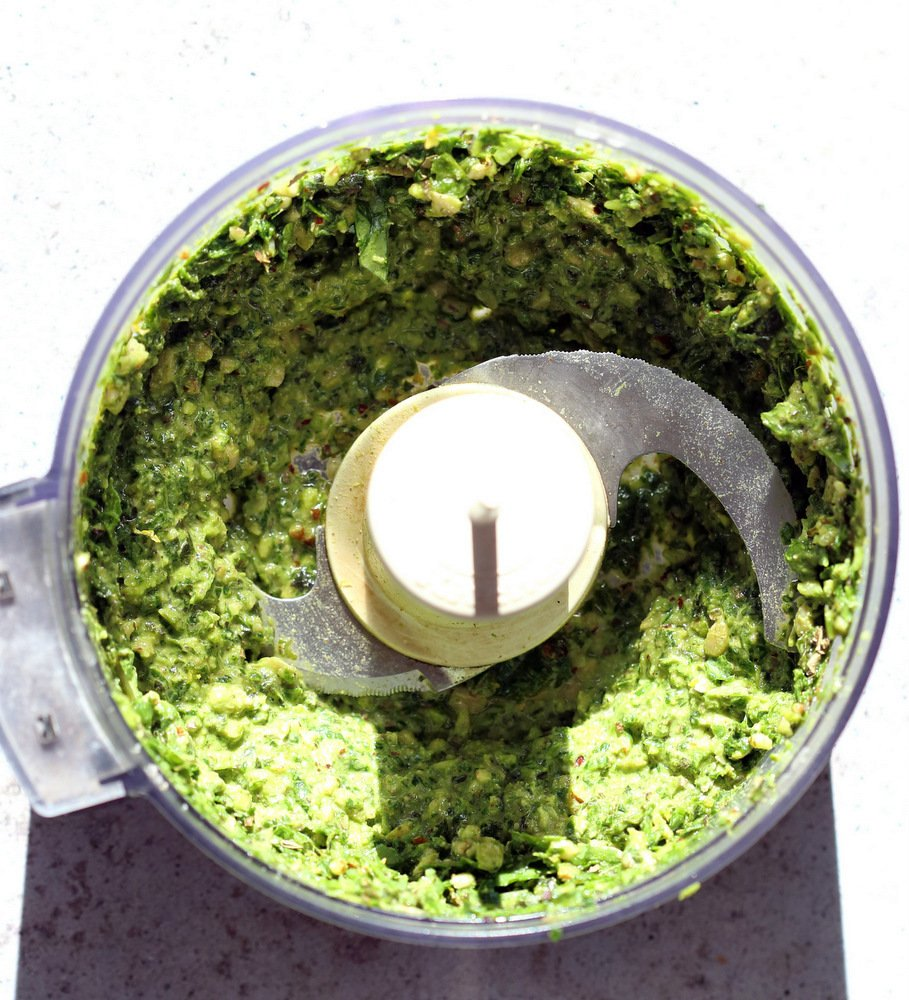 Vegan Pesto in a food processor