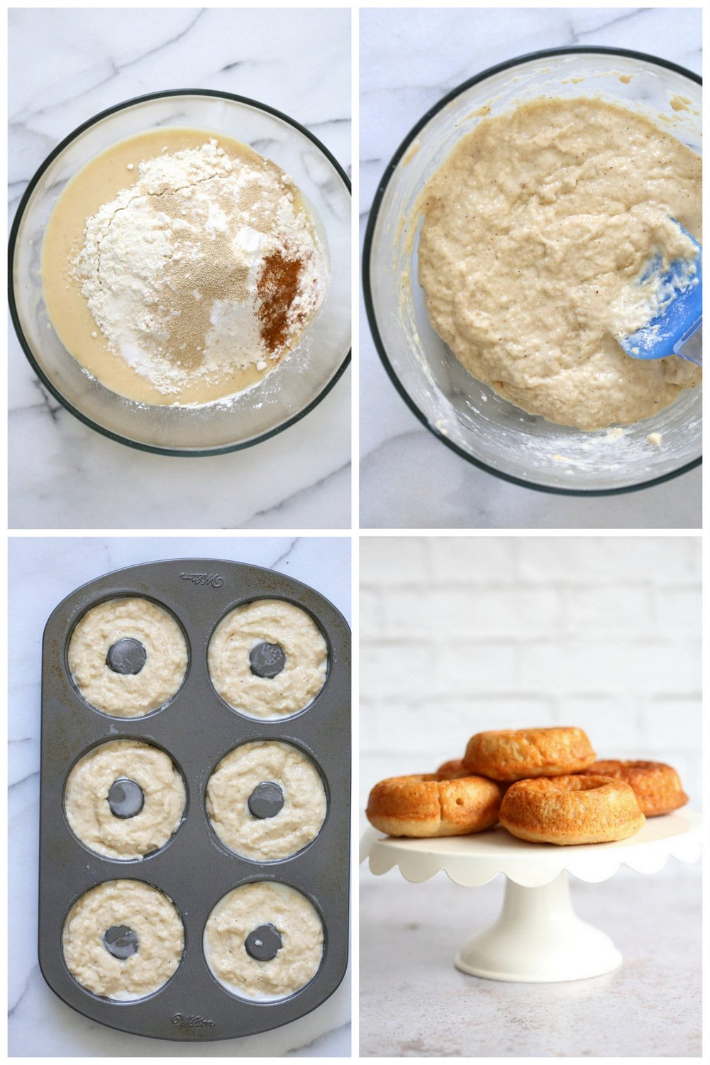 Step pictures for Vegan Banana Donuts. Make the batter, Pour into donut pan and bake