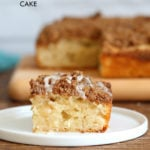 Easy Vegan Coffee Cake Recipe. Simple soft Vanilla Cake topped with a delicious Streusel. Classic Cinnamon Streusel Coffee cake. #Vegan #soyfree #nutfree #Recipe. Glutenfree option #veganricha