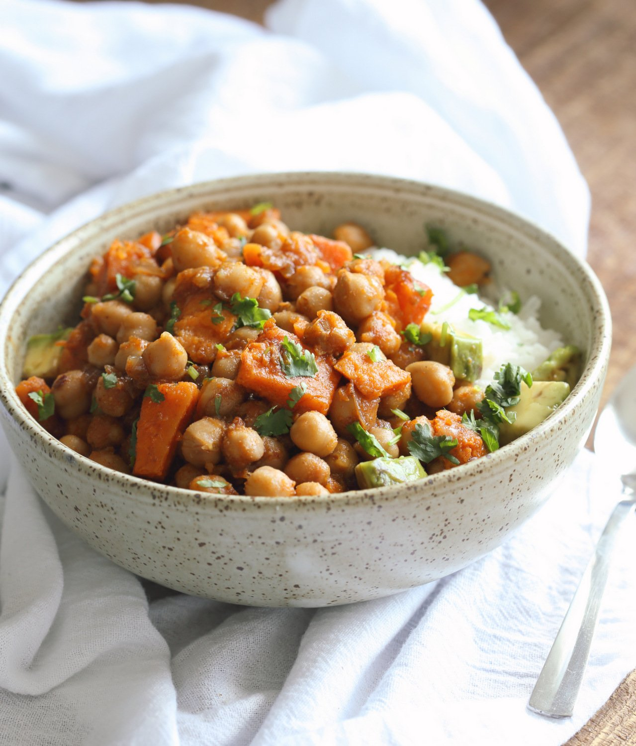 Our Harrisa Chickpea Stew in Stoneware Bowl
