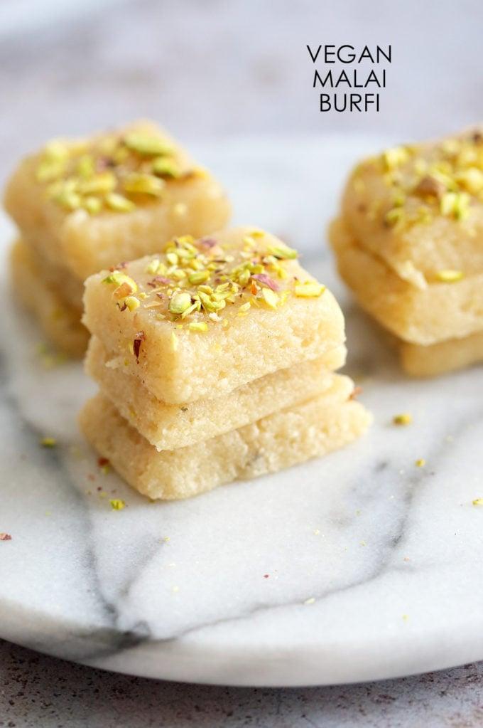 Vegan Malai Burfi (Milk Cake)- Indian Fudge Bars. Dairy free Burfi For India Festivals. #VeganRicha #Vegan #Glutenfree #Soyfree #Recipe.