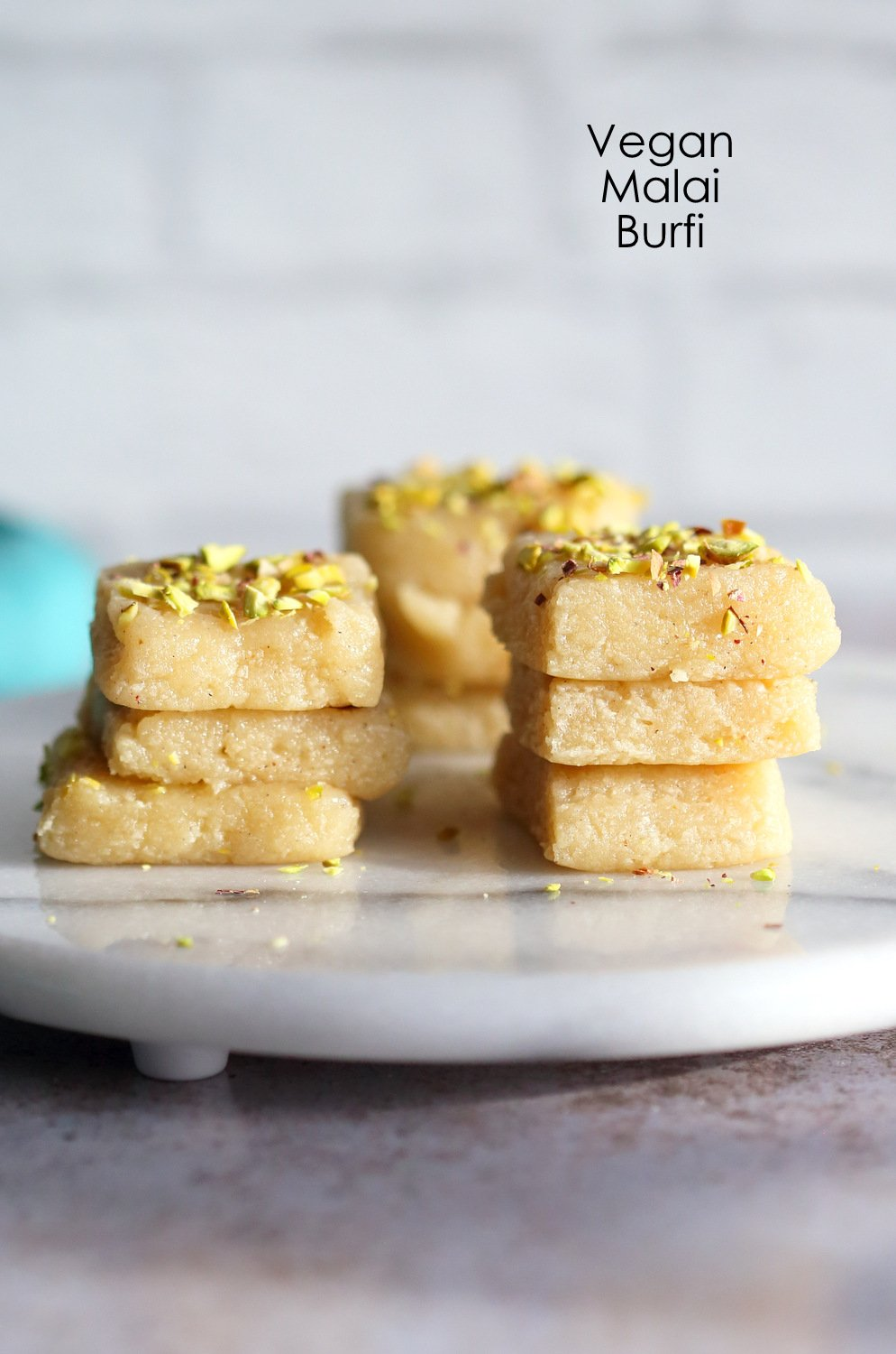 Our Vegan Malai Burfi Bars on Marble