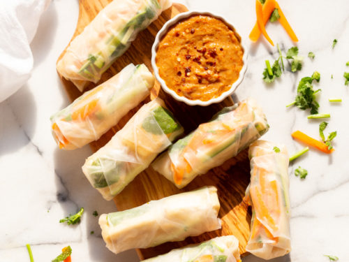Vegan Fresh Spring Rolls With Peanut Sauce Vegan Richa
