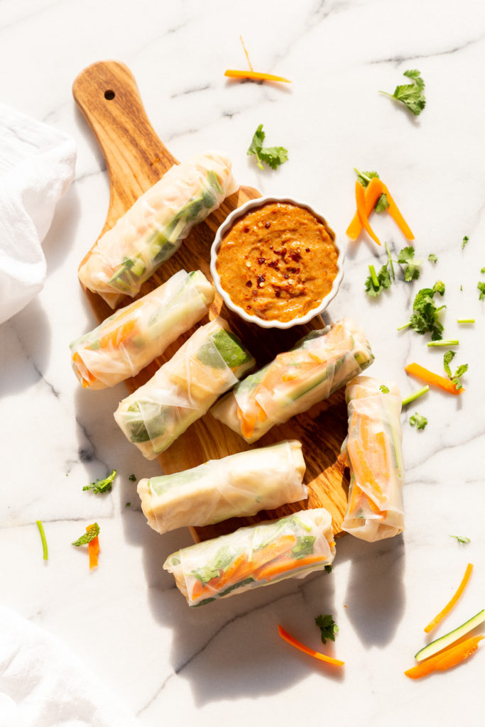 Easy Vegan Fresh Spring Rolls with Peanut Sauce. Rice paper Fresh Rolls with Marinated Tofu and Quick Peanut Dipping Sauce. #Vegan #VeganRicha #VeganSpringrolls #VeganSummerrolls Glutenfree #Recipe Can be Nutfree with Sunbutter or Sweet Chili sauce.