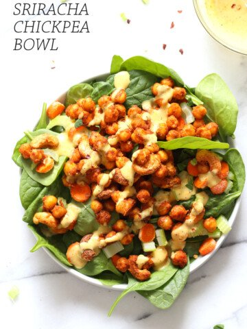 Sriracha Chickpeas, Cashews, Spinach Bowl with Ranch Curry Dressing. Add these Sriracha Roasted Chickpeas and Cashews to Bowls, wraps, salads. #Vegan #Glutenfree #Soyfree #Recipe Omit Cashews to make #nutfree #veganricha | VeganRicha.com