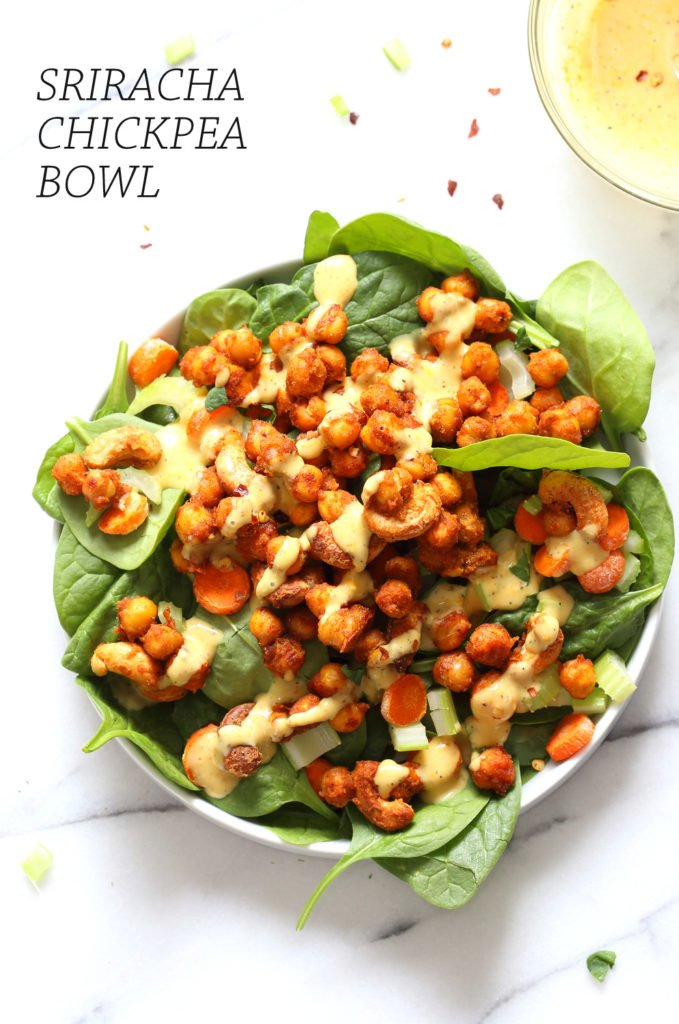 Sriracha Chickpeas Cashew Spinach Bowl with Golden Curry Dressing