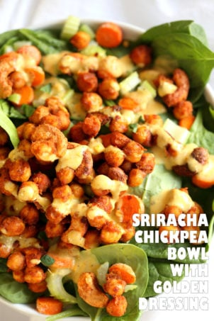 Sriracha Chickpeas, Cashews, Spinach Bowl with Ranch Curry Dressing. Add these Sriracha Roasted Chickpeas and Cashews to Bowls, wraps, salads. #Vegan #Glutenfree #Soyfree #Recipe Omit Cashews to make #nutfree #veganricha | VeganRicha.com