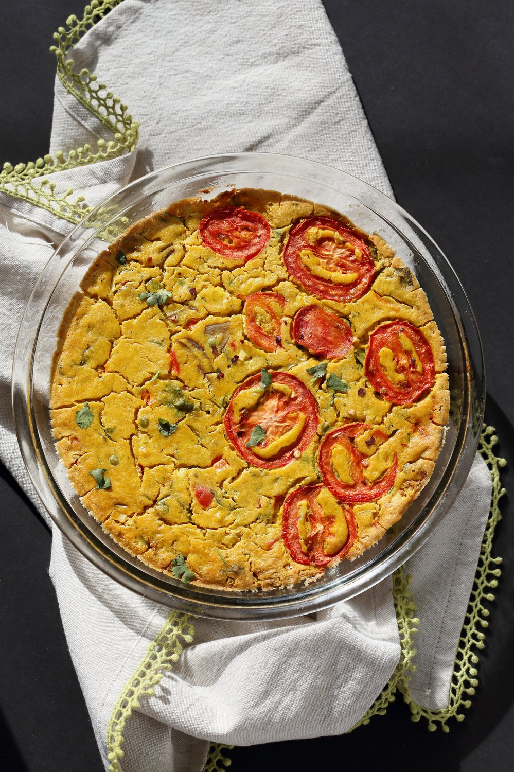 Chickpea Flour Frittata - Eggless Vegan Frittata Recipe. This Chickpea flour frittata is filling, easy and delicious. Use the batter to make pancakes, crepes, crustless quiche. #Vegan #Glutenfree #Soyfree #Nutfree #Recipe #veganricha