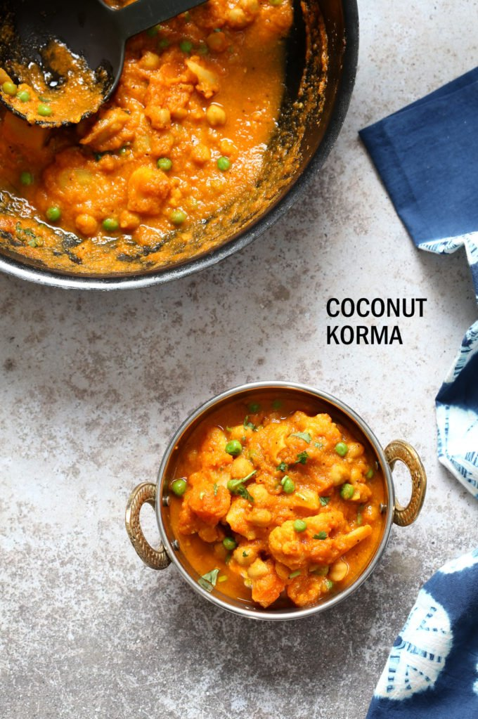 Veggie Kurma - Easy Coconut Korma Sauce with Cauliflower, Potatoes, Carrots, Chickpeas. Vegetable Korma #Vegan #Glutenfree #Soyfree #Nutfree #Recipe #veganricha