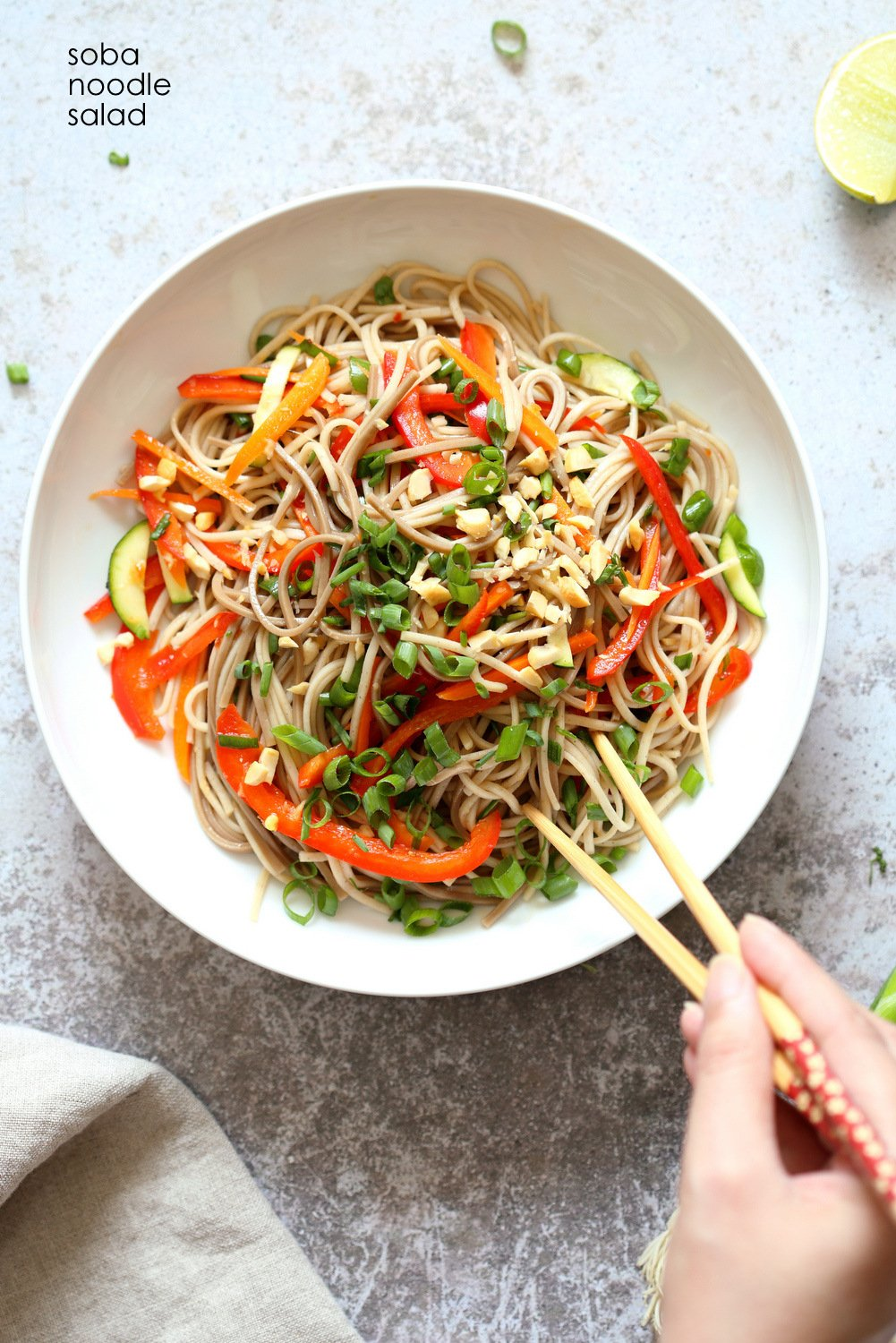 Cold Soba Noodle Salad Recipe. Noodle Salad Bowl with Peppers, Carrots, Zucchini, Green Onion and Sesame Lime Ginger Dressing. Refreshing Summer Salad. #Vegan #Nutfree. #Glutenfree Option, #SoyfreeOption #veganricha #recipe